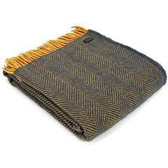 Tweedmill Throw Herringbone Navy & Mustard