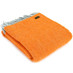 Tweedmill Throw Herringbone Silver Grey & Orange