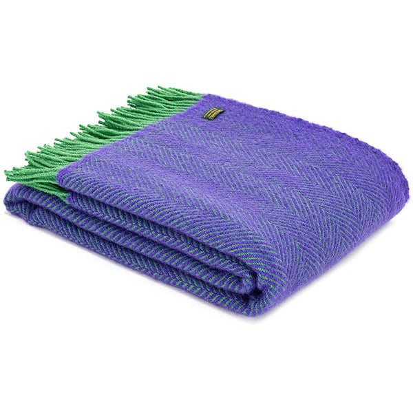 Tweedmill Throw Herringbone Purple & Green