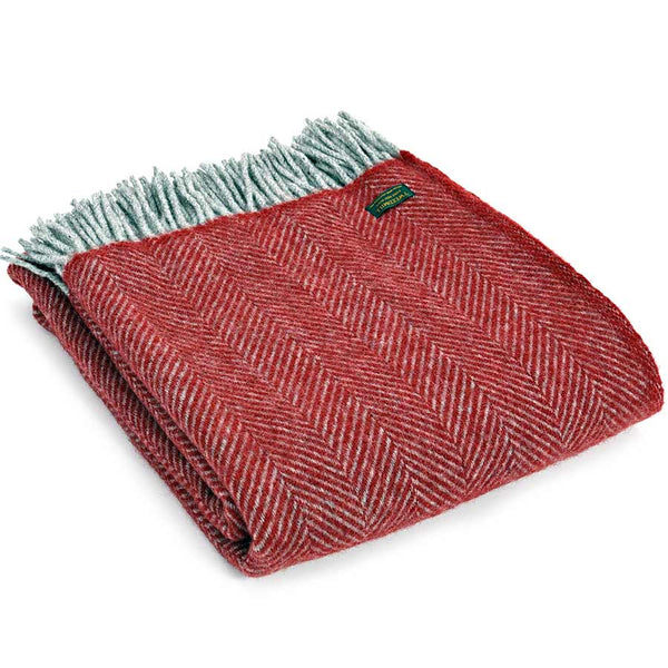 Tweedmill Throw Herringbone Red & Charcoal