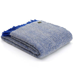 Tweedmill Throw Herringbone Royal Blue & Silver