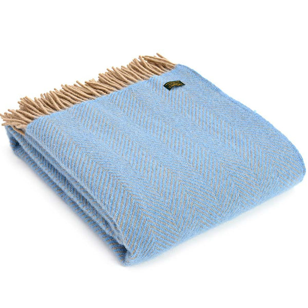 Tweedmill Throw Herringbone Sea Blue & Beige