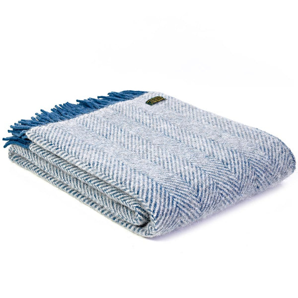 Tweedmill Throw Herringbone Ink - Silver Grey