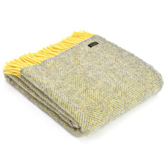 Tweedmill Throw Herringbone Lemon & Silver Grey