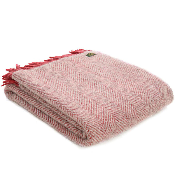 Tweedmill Throw Herringbone Silver Grey - Watermelon