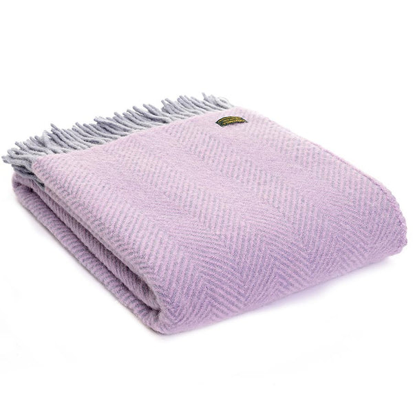 Tweedmill Throw Herringbone Lilac & Stone