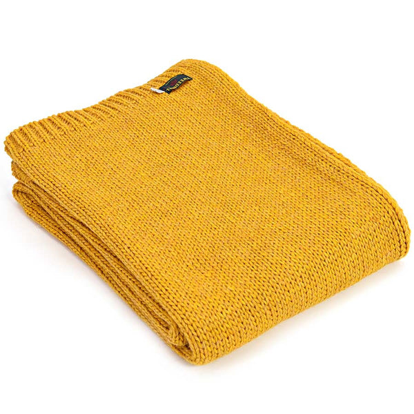Tweedmill Throw Knitted Alpaca Mustard