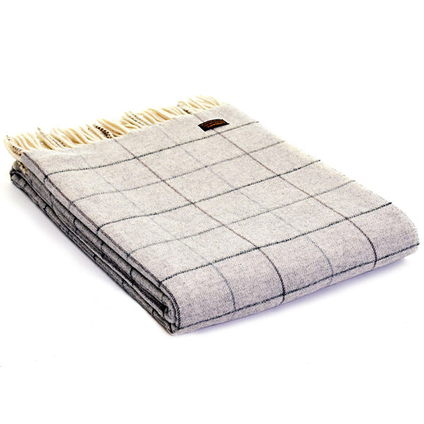 Tweedmill Throw Merino Check Grey