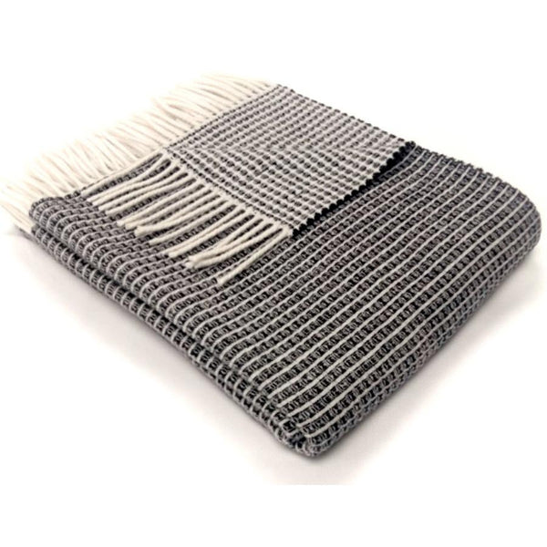Tweedmill Throw Merino Reversible Lattice Navy
