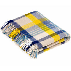 Bronte By Moon Melbourne Blue Yellow Merino Lambswool Throw
