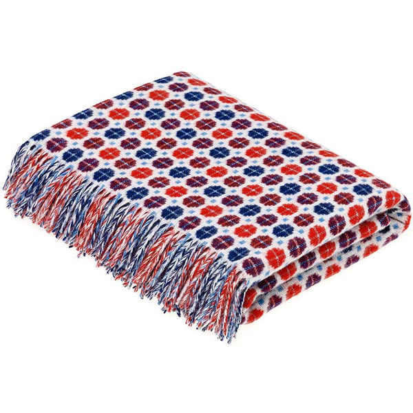 Bronte By Moon Milan Blue Red Lambswool Throw