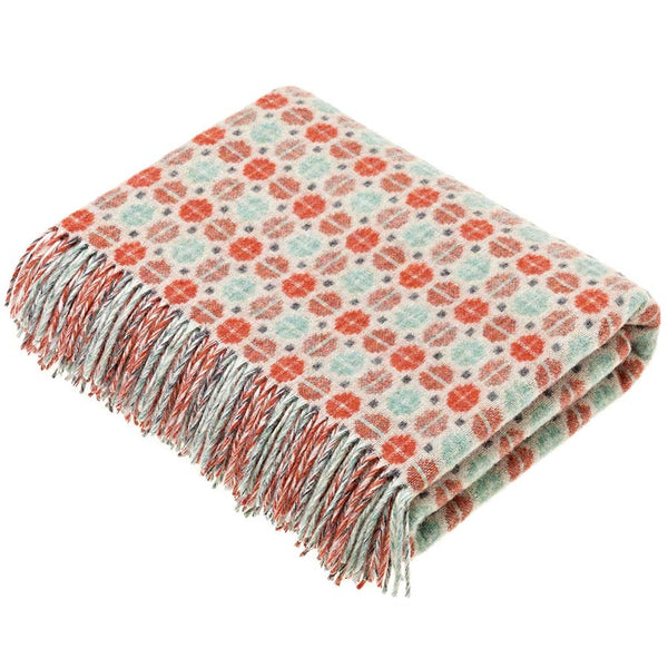 Bronte By Moon Milan Orange Coral Mint Lambswool Throw