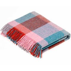 Bronte By Moon Rome Flamingo Aqua Shetland Wool Throw