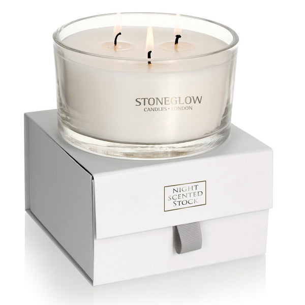 Stoneglow Nature's Gift 3 Wick Candle - Night-Scented Stock