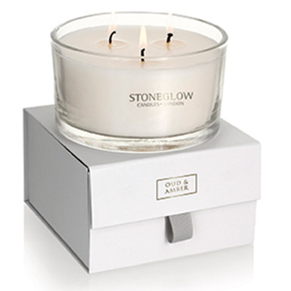 Stoneglow Nature's Gift 3 Wick Candle - Oud & Amber