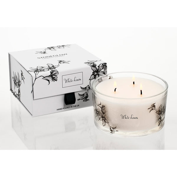 Stoneglow White Orchid 3 Wick Candle - White Linen