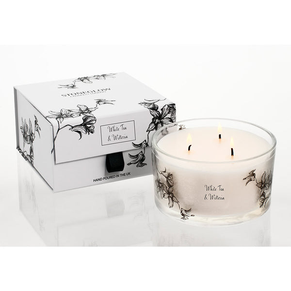 Stoneglow White Orchid 3 Wick Candle - White Tea & Wisteria