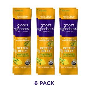 Grace's Goodness Organics formerly Beyond Broth Plant-Based Sipping Broth 6-pack. Better Belly flavor image. Vegetables and Lemon Ginger. USDA Organic. Add water Be Nourished.