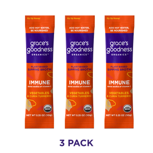 Grace's Goodness Organics formerly Beyond Broth Plant-Based Sipping Broth. Immune flavor 3-pack image. Good source of Vitamin C Vegetables and Cumin Turmeric. USDA Organic. Add water Be Nourished.