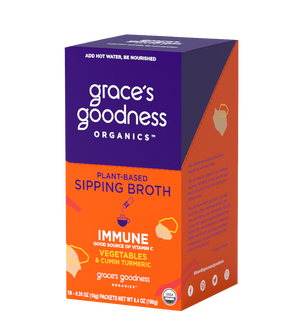 Grace's Goodness Organics formerly Beyond Broth Plant-Based Sipping Broth. Immune flavor image. Good source of Vitamin C Vegetables and Cumin Turmeric. USDA Organic. Add water Be Nourished.