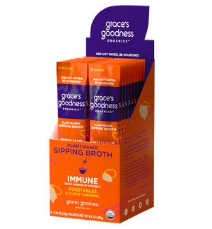 Grace's Goodness Organics formerly Beyond Broth Plant-Based Sipping Broth. Immune flavor pack image. Good source of Vitamin C Vegetables and Cumin Turmeric. USDA Organic. Add water Be Nourished.