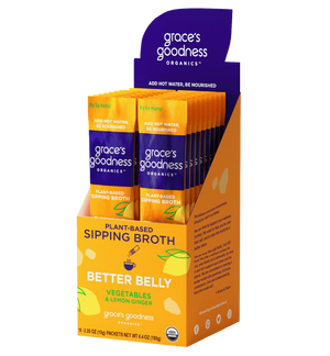 Grace's Goodness Organics formerly Beyond Broth Plant-Based Sipping Broth full pack. Better Belly flavor image. Vegetables and Lemon Ginger. USDA Organic. Add water Be Nourished.