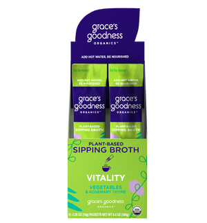 Grace's Goodness Organics formerly Beyond Broth Plant-Based Sipping Broth. Full Box-Vitality Flavor Image. Non-gmo, zero sugar, gluten-free, soy free, vegan, earth kosher. Vegetables, Rosemary Thyme. Add water Be Nourished.