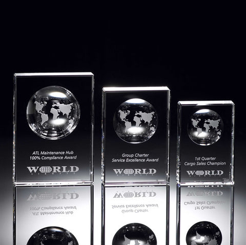 Solid Crystal Globe Block Award