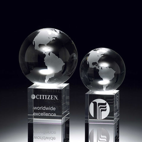 Crystal Globe on Crystal Cube Award