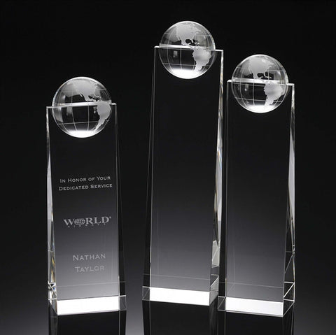 Globe Crystal Wedge Award