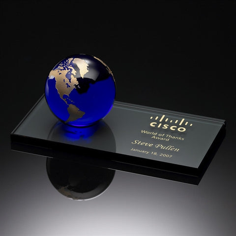 World of Thanks Award Blue & Gold