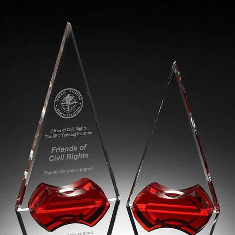Red Apex Tower Crystal Award
