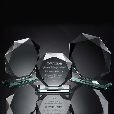 Beveled Octagon Jade Glass Award