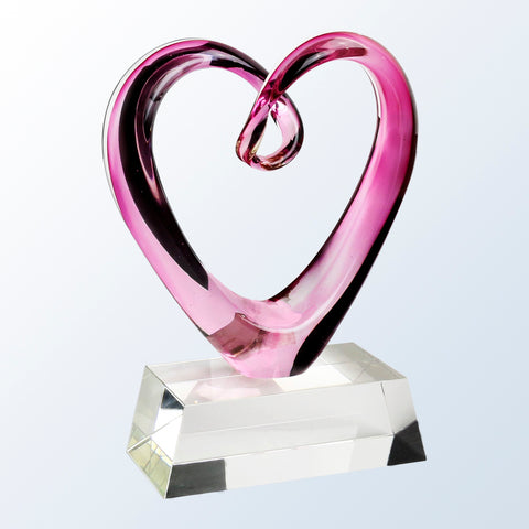 Compassionate Art Glass Heart Award with Crystal Base