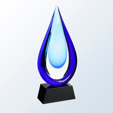 Aquatic Art Glass Award with Black Base