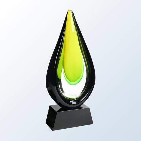 Goldfinch Art Glass Award with Black Base