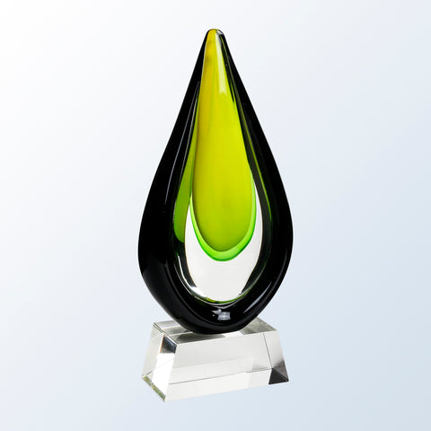 Goldfinch Art Glass Award with Clear Base