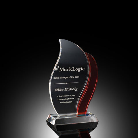 Artisan Flame Crystal Award - Red