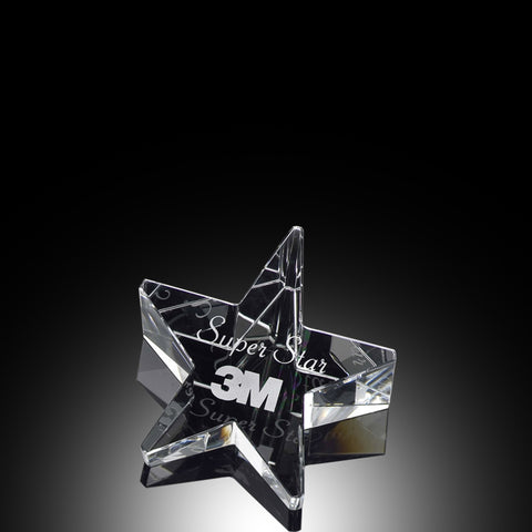 Crystal Slanted Star Paperweight