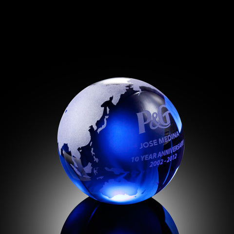Blue Globe with Flat Bottom