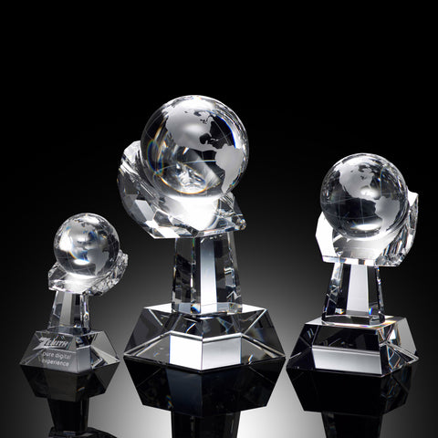 Crystal Globe on Hand Award
