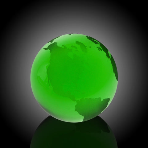Green Globe with Flat Bottom