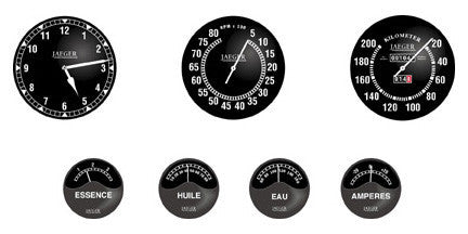 Bugatti Gauge Faces with lenses - B010
