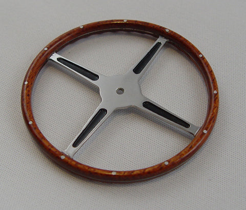Steering Wheel, Real Mahogany - S002