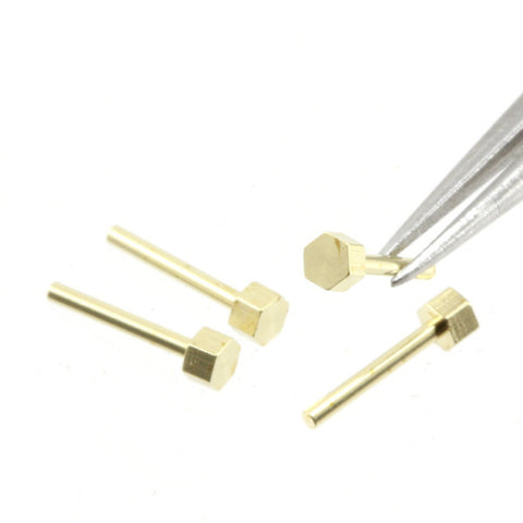 Simulated Hex-Head Bolts - Brass - 1.2 mm - K084
