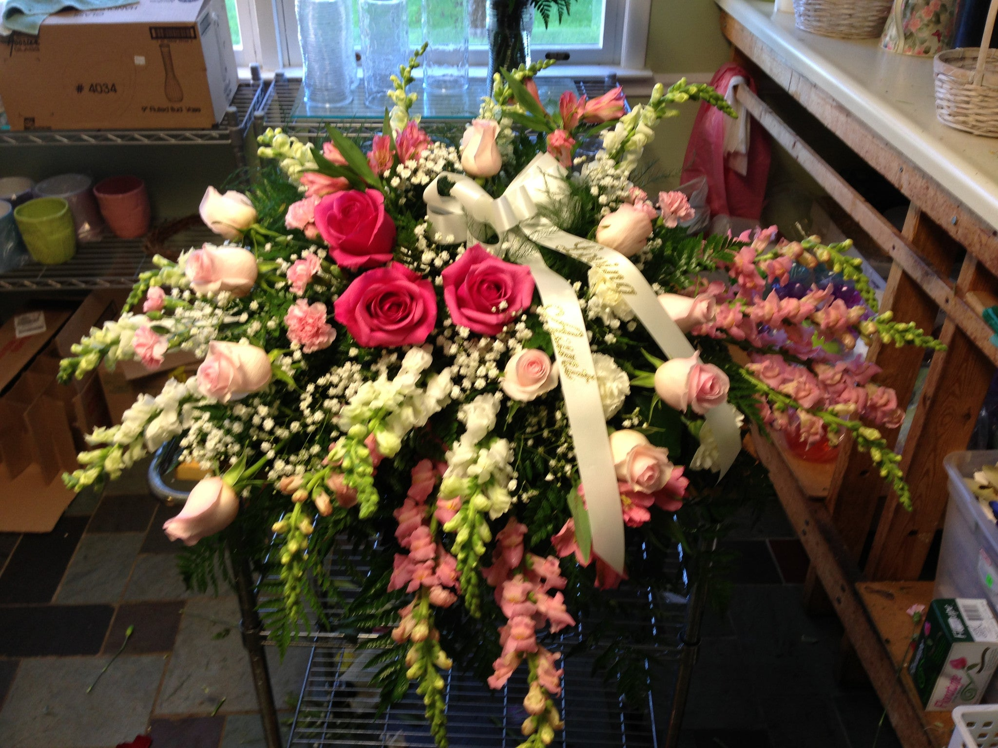 Casket Spray Lovely Pinks and Whites