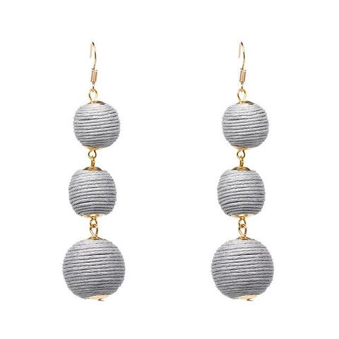 Trio Drop Earrings - Grey