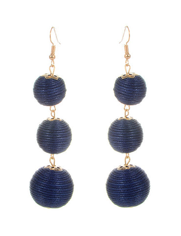 Trio Drop Earrings - Navy Blue