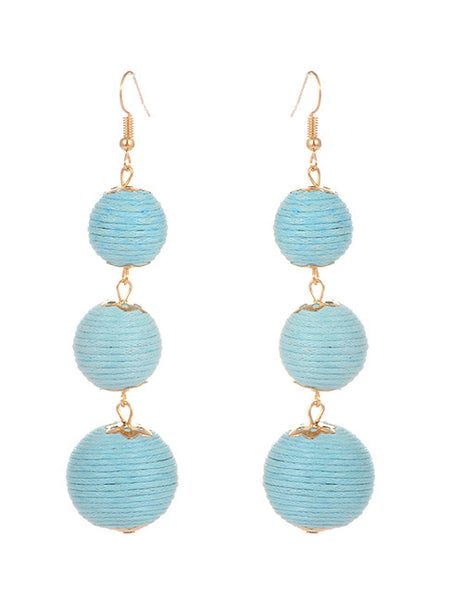 Trio Drop Earrings - Sky Blue