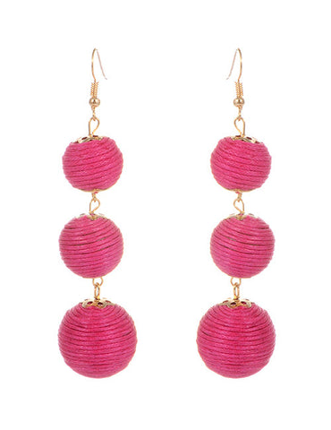 Trio Drop Earrings - Fuschia